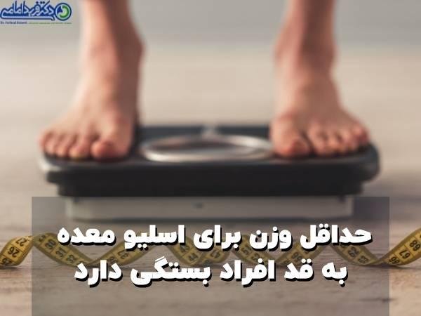 حداقل وزن برای عمل اسلیو معده به قد افراد وابسته است
